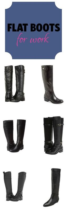 Flat, dressy boots for work can be difficult to find -- I've always thought that slouchy, Western, and a few other styles weren't professional and work-appropriate. We've pulled out 6 of our favorites to feature, but also found flat dressy boots for narrow calves, wide calves, narrow sizes, wide sizes, waterproof boots, OTK boots, and more... check it out.