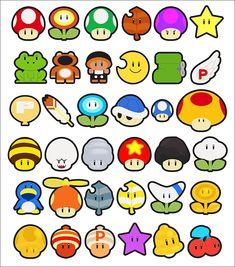 mario power ups Super Mario Kostüm, Super Mario Tattoo, Super Mario Kunst, Super Mario World, Mario Kart, Mario And Luigi, Pixel Art, Instructions Lego, Mario Room
