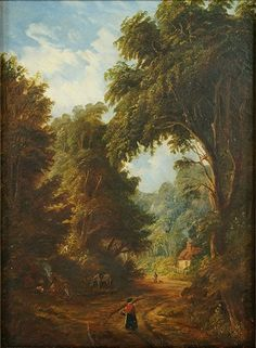 ARTIST UNKNOWN (BRITISH, 19TH CENTURY) ROAD THROUGH THE WOODS. Lot 151-6292 #oil #painting