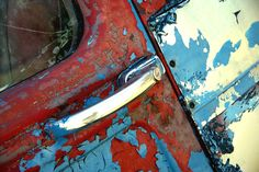 Antique Car photography milk Truck rusted out car door Red White and Blue gifts for him dad. $25.00, via Etsy.