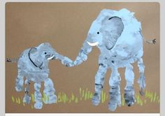 A perfect project for siblings - handprint elephants.