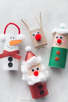 Christmas Toilet Paper Roll Crafts - Easy Christmas crafts for kids!Christmas Toilet Paper Roll Crafts - Easy Christmas crafts for kids! - bestideasfo Christmas crafts How to Make a Toilet Paper Preschool Christmas Crafts, Christmas Paper Crafts, Christmas Diy, Christmas Ornaments, Simple Christmas Crafts, Kindergarten Christmas, Ornaments Ideas, Christmas Crafts For Children, Christmas Activities For Toddlers