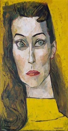 Obra de Oswaldo Guayasamín, Retrato de Jane Dolinger, Hecho de óleo sobre cartón