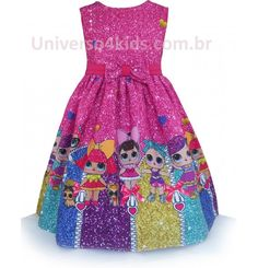Vestido de Festa Infantil Boneca LoL Surprise 7th Birthday Party Ideas, Birthday Party Outfits, Birthday Dresses, Girl Birthday, Lol Doll Cake, Cocktail Bridesmaid Dresses, Moda Chic, Doll Party, Lol Dolls