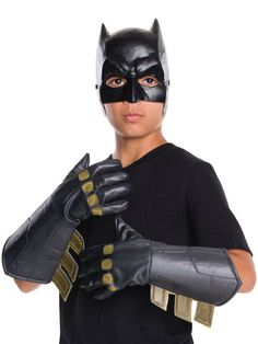 Check out Dawn of Justice Boy's Batman Gauntlets - SuperHeroes from Wholesale Halloween Costumes