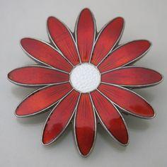 Vtg Aksel Holmsen Norway Sterling Silver Red Guilloche Enamel Flower Brooch Pin