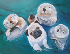 """Pug Dog Art Print / """"Brothers From Other Mothers"""" /  by Original M. Holzer on Etsy, $13.50"""