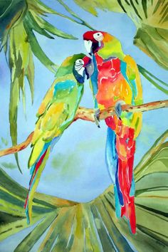 original paintings art for sale Parrot Drawing, Parrot Painting, Paintings Famous, Original Paintings, Colorful Parrots, Bicycle Painting, Tropical Art, Watercolor Bird, Watercolor Paintings