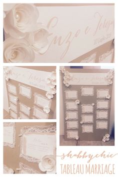Shabby Chic tableau marriage made with kraft cardstock, tintoretto cardstock, paper flowers, lace and pearls.