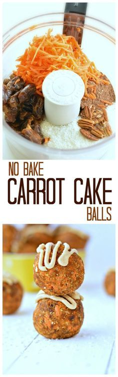"""A 3-minute NO-Bake Carrot 'Cake' protein Ball; coconut, almond, pecans, oats, carrots. """"Boosted in protein and perfect as a recovery food after gym"""""""