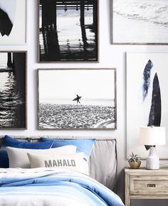 Bring the outside in with surf-inspired artwork hung in a dynamic salon-style arrangement.