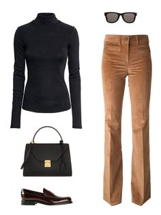 H&M turtleneck, $25; hm.com; Saint Laurent new wave sunglasses, $380; bergdorfgoodman.com; Filles a Papa flared corduroys, $166; farfetch.com; Tod's classic penny loafer, $320; farfetch.com; Mark Cross Hadley medium textured-leather tote, $2,495; net-a-porter.com - Photo: (clockwise from top left) Courtesy of H&M; Courtesy of Bergdorf Goodman; Courtesy of farfetch.com (2); Courtesy of net-a-porter.com