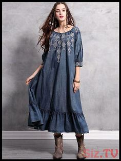 Spring Big size Casual Vintage Autumn Elegant embroidery Loose Female A-line Denim Long Dress Half Sleeves, Types Of Sleeves, Dresses With Sleeves, Event Dresses, Midi Dresses, Shift Dresses, Denim Dresses, Prom Dresses, Wedding Underwear