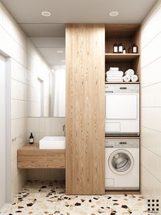 small apartment with wooden color sense. Modern Laundry Rooms, Modern Bathroom Decor, Laundry In Bathroom, Bathroom Design Small, Bathroom Layout, Bathroom Interior Design, Bathroom Colors, Laundry Room Inspiration, Bathroom Design Inspiration