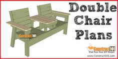 Double Chair Bench Plans - Step-By-Step Plans - Wood Bench Plans, Wooden Chair Plans, Garden Bench Plans, Diy Wood Bench, Woodworking Furniture Plans, Woodworking Equipment, Woodworking Classes, Woodworking Projects, Outdoor Wood Furniture
