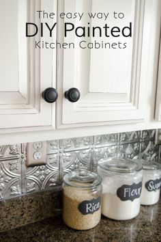 I have wanted white kitchen cabinets for FOREVER. But all three of the houses that we've owned, all came with dark cherry kitchen cabinets. Now don't get me wrong, cherry is nice! But in our current home, the cherry cabinets really bugged me. Like r