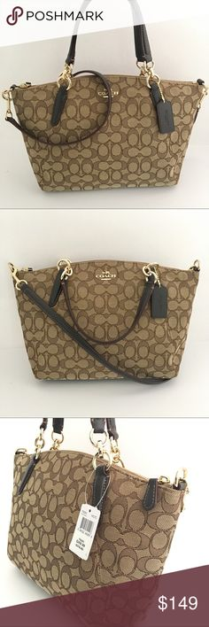 """COACH SMALL KELSEY SATCHEL IN OUTLINE SIGNATURE Signature jacquard Inside zip, cell phone and multifunction pockets Zip-top closure, fabric lining Handles with 5 1/2"""" drop Detachable strap with 22"""" drop for shoulder or crossbody wear 10 1/2"""" (L) x 8 1/2"""" (H) x 3 1/4""""( W)                                                    Style No. F58283 Color. Gold/Khaki/Brown Coach Bags Crossbody Bags"""