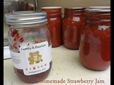 "How to Make (low sugar) Strawberry Jam From Scratch Canning or Freezer. If it's your first time canning, you will want to get a tool kit. They are available in stores but sometimes only during canning ""season"" a.k.a. harvest time. Here are some canning kits and some even come with a water bath canner. They are not very expensive. http://www.youtube.com/watch?v=HMS3l58QXIA=UUkijT1UIdW3ww0RqF8iU8NA=3"