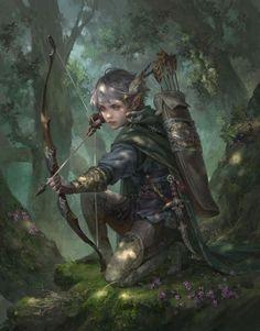 f Wood Elf Ranger Med Armor Longbow deciduous forest hills ArtStation - Harvest, Livia Prima Fantasy Warrior, Fantasy Rpg, Fantasy Artwork, Dark Fantasy, Fantasy Women, Medieval Fantasy, Dungeons And Dragons Characters, Dnd Characters, Fantasy Characters