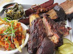 Ribs, Beef Brisket & Sausage with Collards at Heirloom Market BBQ (Atlanta, GA). #UniqueEats #ribs #brisket