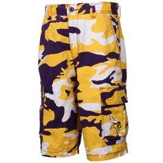 NFL Minnesota Vikings Tailgate Camo Shorts - Purple/Gold