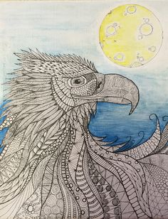 """Eagle Chief by Harvest Moon"" by G Bolden 2014 My first venture into the Zentangle genre. Attempt to capture some of the free spirit of the Australian Wedge Tailed Eagle."