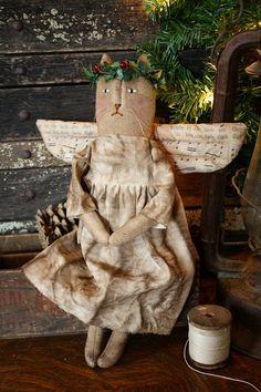 Primitive Folk Art Christmas Miss Holly Angel Cat Doll E-Pattern. $9.00, via Etsy.