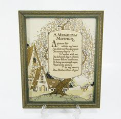 Memory of Mother Vintage Motto Frame 1920's Picture by ohiopicker, $48.00