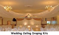Our elegant ceiling draping kits are engineered to be lightweight and durable. This kit includes HARDWARE ONLY. Our ceiling draping kits are designed for easy installation and removal. Wedding Themes, Wedding Designs, Wedding Decorations, Wedding Draping, Wedding Reception, Wedding Fabric, Reception Ideas, Wedding Flowers, Wedding Wishes