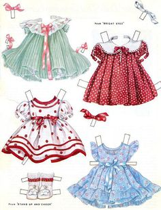 Clothes for a Shirley Temple Paper Doll, 1930s.
