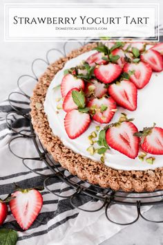 This Strawberry Yogurt Tart is a great make-ahead breakfast recipe for busy workday mornings or a special brunch with friends. Make Ahead Breakfast, Breakfast Recipes, Tart Crust Recipe, Quick Appetizers, Fruit In Season, Strawberry Recipes, Mornings, Food Inspiration, Yogurt
