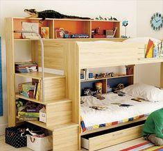 shelves under stairs kids-room