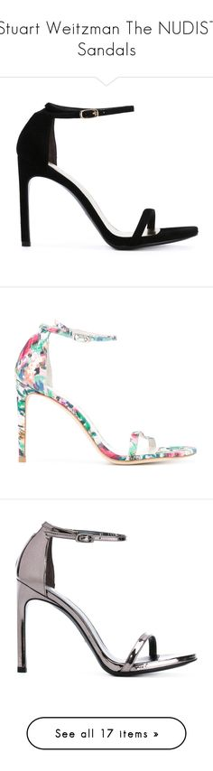 """""""Stuart Weitzman The NUDIST Sandals"""" by larycao ❤ liked on Polyvore featuring shoes, sandals, black, black leather sandals, genuine leather shoes, black sandals, black leather shoes, stuart weitzman shoes, colorful sandals and multicolor shoes"""