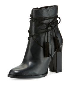 Vince Camuto Garrit Leather Tassel-Tie Bootie, Black