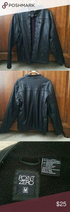 Men's Bomber style jacket This pleather bomber jacket has a warm fleece lining. The brand is Point Zero. Very little wear. Point Zero Jackets & Coats Bomber & Varsity