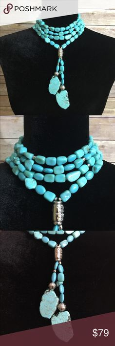 "Statement Turquoise Choker What a way to make an entrance. This necklace adjusts 4 inches to go from a choker to a standard 16.5"" beauty. New with tags and gift box! Jewelry Necklaces"