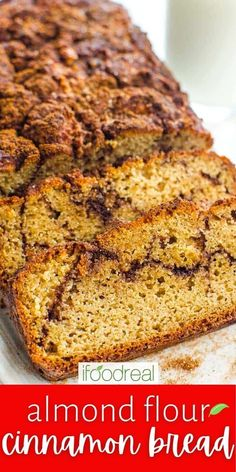 Almond Flour Cinnamon Bread is melt in your mouth soft, guilt free bread with swirls of cinnamon sugar and irresistible streusel topping. Delicious, healthy and your kitchen will smell amazing! Baking With Almond Flour, Almond Flour Recipes, Bread Recipes, Snack Recipes, Make Greek Yogurt, Crunch Cereal, Baking Basics, Streusel Topping, Cinnamon Bread