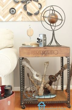 DIY Industrial Side Table from wine box