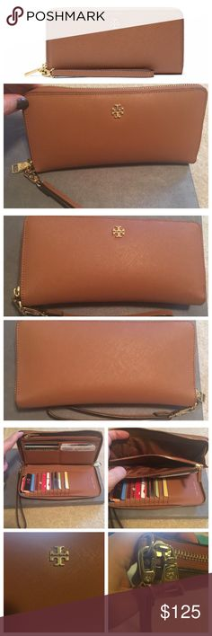 Tory Burch Perry Zip Passport Continental Wallet Tory Burch Perry Zip Passport Continental Wallet in EXCELLENT used condition. Carried briefly before purchasing a different wallet. Genuine leather, opens flat for accessibility, and has 16 credit card slots, four bill pockets, and one zip compartment for canoe and receipts, including space for an iPhone 6. Zip around closure, gold logo and hardware, and removable wrist strap. Retails for $195 on toryburch.com with al 5 star ratings and is…