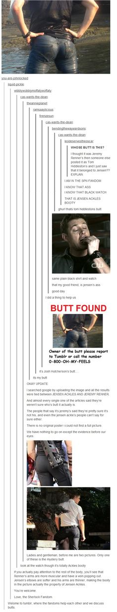 The case of the mysterious butt lmao. i love the last comment.
