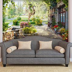 Papier Paint Vinyle jardin dans le chalet #papierpeint #vinyle #mur #décoration #deco #WebStickersMuraux