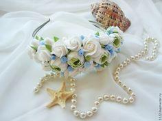 """Ободок """"Морской бриз"""" - голубой,ободок,украшения ручной работы,украшение для волос"""