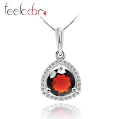 wholesale 2.65ct natural stone red garnet pendant solid 925 sterling silver round cut fine