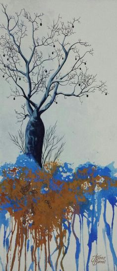 Boab tree painting with real rough diamonds by Jeanne Barnes.