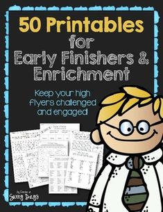 Fifty printables for enrichment and early finishers. Critical and creative thinking activities for a wide range and ability of students in grades 1-4. You may even find activities that correlate with whole class units of study as activities cover all subject areas.  Unit contains a mixture of open ended response pages, independent research activities and direct question and answer pages.