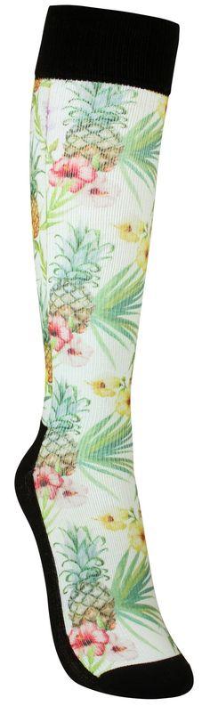 Tuulahdus palmurannoilta joskus niin harmaaseen arkeen. Sukissa on keskivahva tuki ja ne soveltuvat päivittäiseen käyttöön.