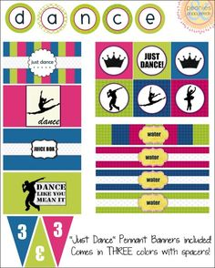 For my nephews birthday. Will only be using the blue and green ones!just dance party printables 18th Birthday Party Outfit, Dance Party Birthday, Butterfly Birthday Party, Unicorn Birthday Parties, Birthday Ideas, Dance Party Decorations, Just Dance Kids, Engagement Party Games, Dance Themes