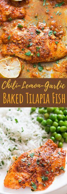 Chili-Lime-Garlic Baked Tilapia Recipe Dinner made real easy and fast with this garlicky chili lemon baked tilapia. The spice run is sensational and full of flavors.If you want quick-fix dinner, baked tilapia recipes is what you need. Baked Salmon Recipes, Seafood Recipes, Chicken Recipes, Dinner Recipes, Cooking Recipes, Healthy Recipes, Healthy Tilapia Recipes, Tilapia Fish Recipes, Fast Recipes