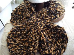 Ascot- keyhole scarf- Neck warmer- Black n Gold- Steelers, gift