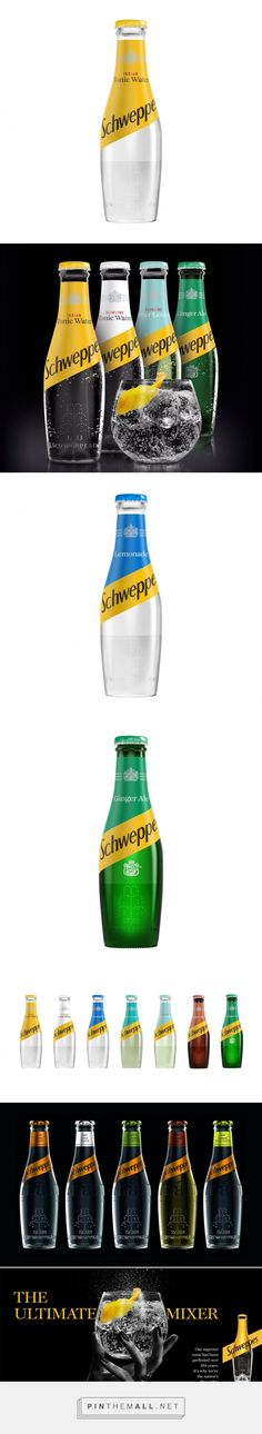 Schweppes logo and bottle redesign for the UK by Coca Cola and Kenyon Weston.  Source: Brandemia. Pin curated by #SFields99 #packaging #design #inspiration #ideas #rebranding #product #creative #structural #drinks #beverages #soda #tonic #water #Schweppes #logotype #bottle